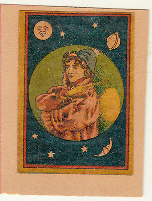 Old  Matchbox Labels Man With Stick And Planets Around On Paper With Hinge.