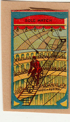 Old  Austria Matchbox Labels Man On Cycle In Circus Room On Paper With Hinge.