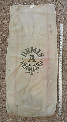 "Vintage BEMIS 'A' SEAMLESS SEED SACK Extra Heavy Canvas Cloth Feed Bag 45"" x 20"""