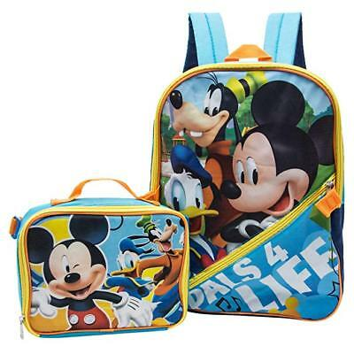 "Disney Mickey Mouse Boys 16"" LET'S ROLL School Backpack w/Detachable Lunch Bag"