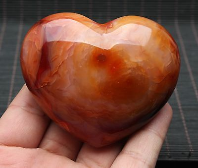210.6g Colorful Red Orange White CARNELIAN AGATE Crystal Heart Healing