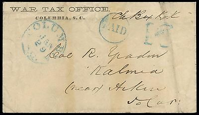 """CSA War Tax Office, Columbia SC official imprint cover w/""""Paid 10"""", listing ex"""