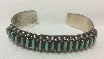 Native American Zuni Silver Turquoise Bracelet 20 Stones Nice Variety Techniques