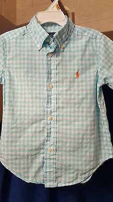 BOYS Ralph Lauren POLO 2T shirt button down short sleeve cotton check gingham