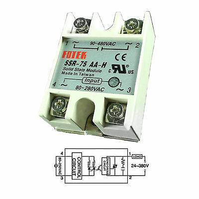 Output 90V-480VAC SSR-75AA-H 75A AC-AC Fotek Solid State Relay for Arduino