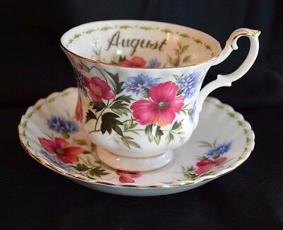 Royal Albert Flower of the Month Tea Cup August Poppy Flower Excellent