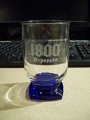 ONE 1800 REPOSADO TEQUILA BLUE FOOTED ROCKS GLASS ETCHED LETTERS NiICE!!!!