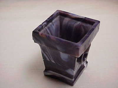 Victorian Rare Purple and White Slag Glass Square Urn Shaped Toothpick Holder