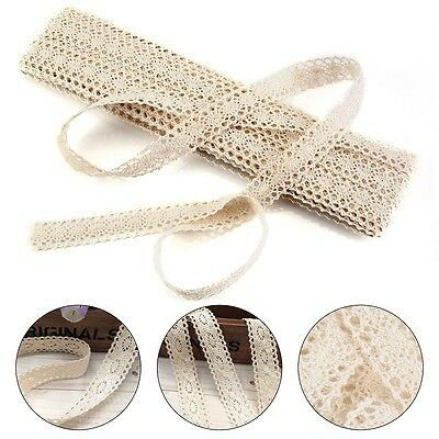 12m Vintage Ivory Cream Lace Bridal Wedding Trim Ribbon Craft Cotton Crochet Set