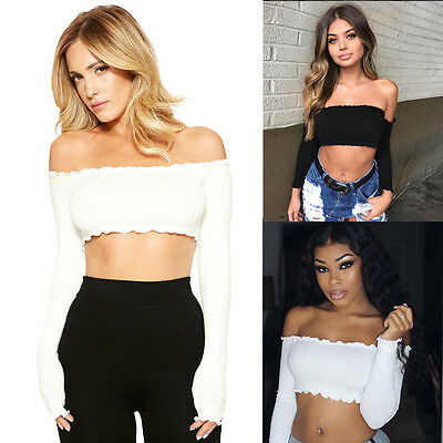 Fashion Women Off Shoulder Solid Crop Wrapped Chest Vest Clubwear Casual Tops