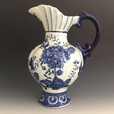 Collectible Vintage Blue And White Fine Porcelain Pitcher
