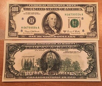 Copy Reproduction 1969 $100 Currency Paper Money Reverse Offset Printing Error