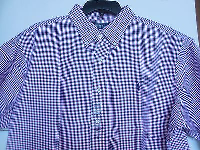 """Polo Men's Xxl """"pink-Blue Check"""" Classic Fit Button Front Cotton, Ss, Nwt"""