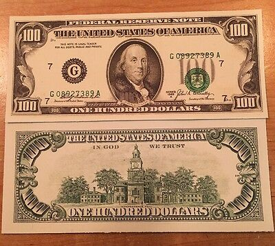 Copy Reproduction 1969 $100 US Currency Paper Money Shift Printing Error