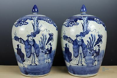 Beautiful Fine Chinese A pair Blue and white porcelain character &Tea Caddies