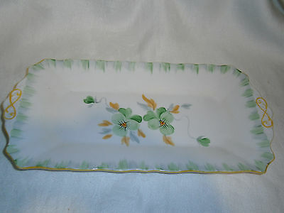 Vintage  Hand Painted Tuscan China Sandwich Cake Plate 4313