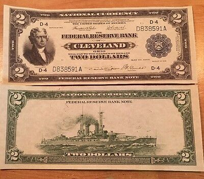 Copy Reproduction 1918 $2 BATTLESHIP FRN US Currency Paper Money Note