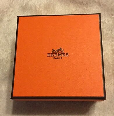 """Authentic Hermes Empty 4""""x 4""""x 2"""" Made In France Orange Box"""