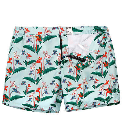 Mosmann Men's Swim Shorts Trendy Print Swimwear Trunks Beach Pants Sports Boxer
