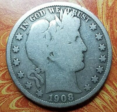 1908-P Barber 90% Silver Half Dollar Good Circulated Condition Cleaned