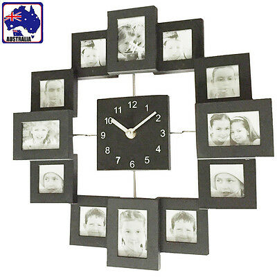 12 Pictures Wall Clock Photo Frame Timekeeper Home Decoration Family HCLOC7776