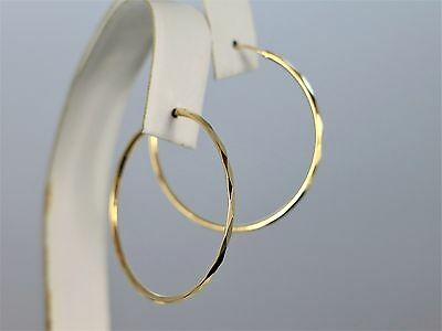 14K Yellow Gold 37mm Big Round Faceted No Diamonds Hoop Circle Hinged Earrings