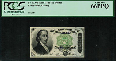 Fr-1379 $0.50 Fourth Issue Fractional Currency - 50 Cent - Dexter - PCGS 66PPQ