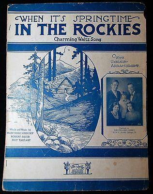 When It's Spring Time In the Rockies Charmin Ukulele Waltz Song 1929 Sheet Music