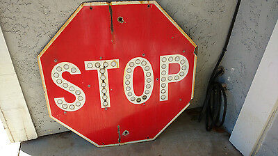 "Vintage Red Porcelain Stop Sign w/ Cat Eye Reflectors 30"" x 30"""