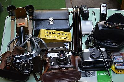 Old Cameras (4),tripod,double Lights, Flash (4),filters(2),tilt Head, The Lot
