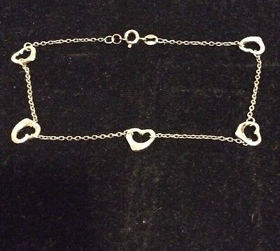 ".925 Sterling Silver Polished 5 Open Heart Link Chain 9"" Anklet NEW Without Tag"