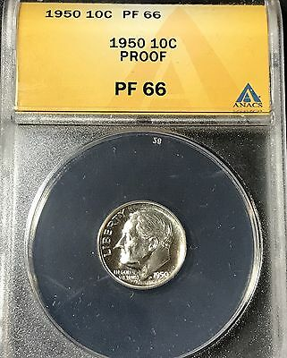 ANACS-PF66 1950 Proof Roosevelt DIME - Free Shipping