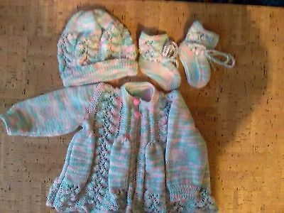 New Hand Knitted Baby Jacket With Matching Beanie & Booties 0 - 3 Months