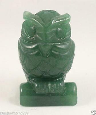 2.3 inch Green Jade carve Owl statue Hand Carved Owl,Gemstone