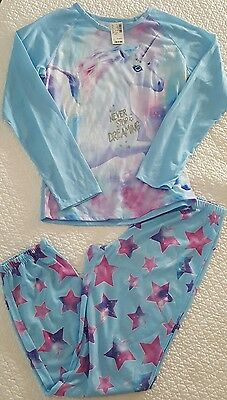 Nwt Girls Justice Unicorn Pajamas Pants Shirt Size 16 18 Xl Lightweight Summer