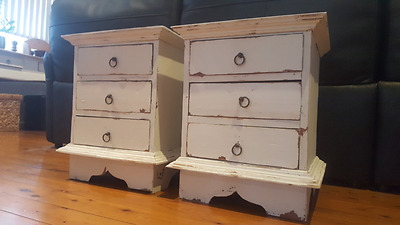 Bedside Tables X2 Pair Shabby Chic Wooden Gorgeous