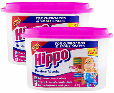 2 x HIPPO MOISTURE ABSORBER for CUPBOARDS SMALL SPACES 300g