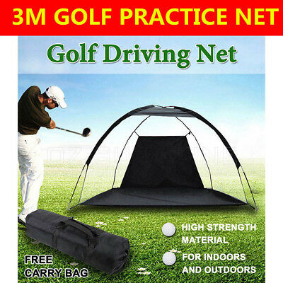 Portable Golf Practice Driving Hit Net Cage Training Mat Aid Driver Irons+Bag