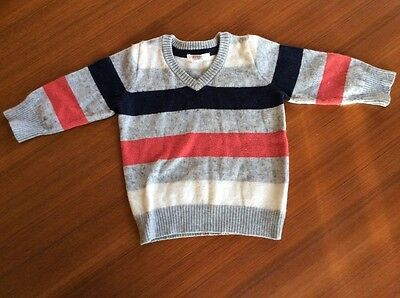 Pure Baby Jumper Size 0 6-12 Months Boys Purebaby Wool Blend