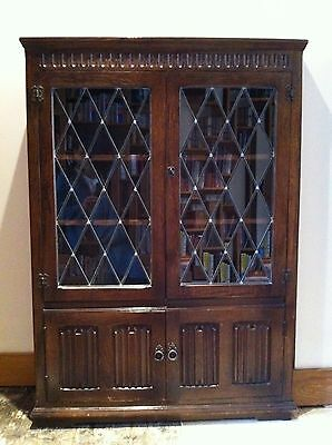 Antique Oak Glass Fronted Bookcase Wooden Book Shelves