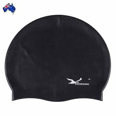 Flexible Silicone swimming cap ear protect Long Hair Protection Swim Black