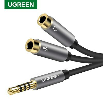 Ugreen Headset Adapter Headphone Mic Y Splitter Cable 3.5mm Male to 2 Female PS4