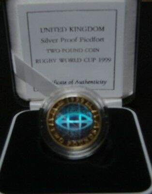 1999 PIEDFORT RUGBY HOLOGRAM £2 SILVER PROOF - boxed/coa/outer