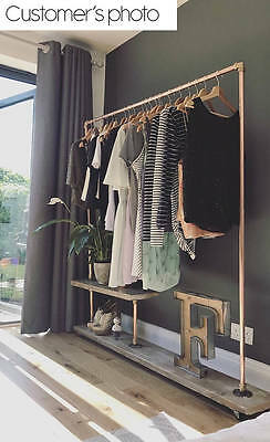 Industrial style clothes rail with shelf