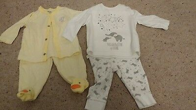 Two neutral baby outfits - up to 3 months