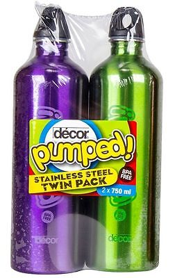 2X Decor Stainless Steel Drink Bottle 750ml Pumped Twin Pack! (BPA FREE)