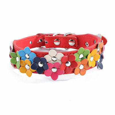 Adjustable Pet Dog Cat Flower Garland Collar Studded Leather Buckle Puppy Collar
