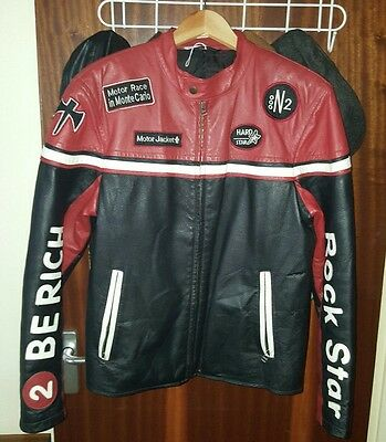 Angelo Litrico mens leather racing leather motorcycle  jacket size L