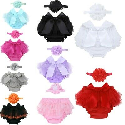 2Pcs Newborn Baby Cute Girl Ruffle Pants Bow Bloomer Shorts Photo Shoot Props