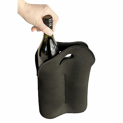 Plain Black Wine Skin Cooler Bag | 2 Bottle Neoprene Carrier